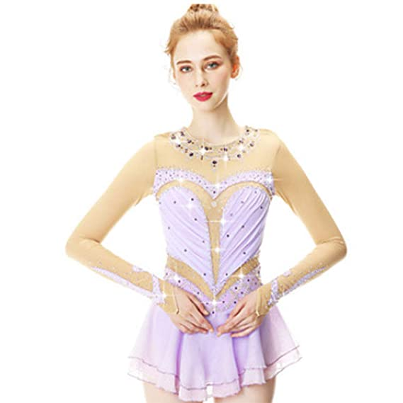 Amazon.com : YUEZHIMEI Figure Skating Dress for Girls Women ...
