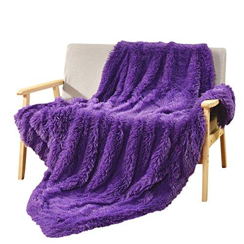 Decosy Super Soft Faux Fur Warm Cozy Sofa Blanket Purple / L