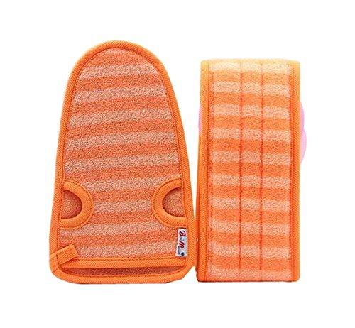 2 Of Soft Bath Mitts Exfoliating Gloves Bath Belts For Female  Orange