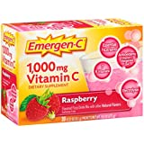 Emergen-C (30 Count, Raspberry Flavor, 1 Month Supply) Dietary Supplement Fizzy Drink Mix with 1000mg Vitamin C, 0.32 Ounce Packets, Caffeine Free
