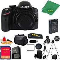 Nikon D3200 DSLR Camera Body + 64 GB Memory Card + Case + Reader + Tripod + 6PC Starter set + Microfiber Cloth + Extra Charger - International Model