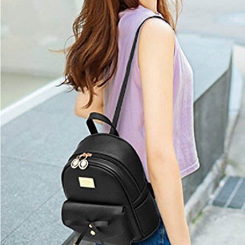 Black Girls Mini Cute Bowknot Leather Fashion for Purse Women Backpack Backpack HqavT7zR