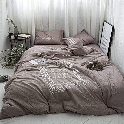 寝具布団カバー 北欧風のシンプルな刺繍ベッドの上に純粋な綿2メートルベッドの綿のキルトシートと綿のキルトシートの4枚 超ソフト低刺激性 (色 : 1.5m (5 Feet) Bed, サイズ : Fitted models) 1.5m (5 Feet) Bed Fitted models