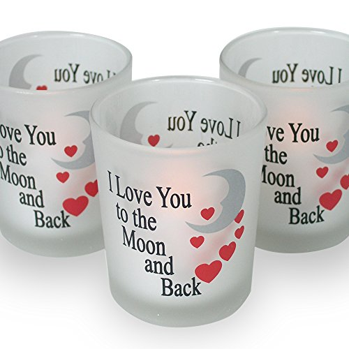 Valentine's Day Decorations - I Love You to the Moon & Back Frosted Glass Candle Holders - Red Hearts & Silver Moon - Set of 3 Assorted - Three Flameless Flickering LED Candles Included