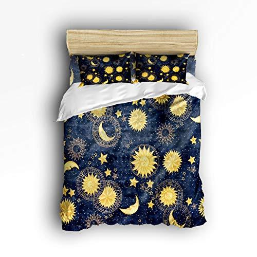 Cloud Dream Home 4 Piece Bedding Set, Boho Chic Art Golden Sun Moon and Stars Over Blue Black Sky Duvet Cover Set Quilt Bedspread for Childrens/Kids/Teens/Adults Queen Size(Large) -
