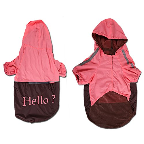 S-Lifeeling Fashion Hooded Dog Raincoat Reflective Waterproof Hoodies Jacket Clothes 4 Size for Medium Dogs, Large Dogs