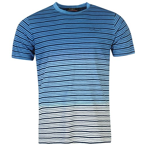 Pierre Cardin Mens 100% Cotton Short Sleeves Crew Neck Yarn Dyed Stripe Dip Dye T Shirt - Multicoloured - Small - 2X-Large Sizes Available (Large, (Dip Dye Crew Tee)