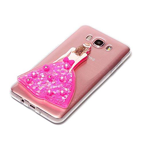 Funda Galaxy J7 2016, Caselover 3D Bling Silicona TPU Búho Carcasas para Samsung Galaxy J7 2016 J710 Glitter Líquido Arena Movediza Protección Caso Sparkle Brillar Cristal Tapa Case Suave Transparente Vestido Rosa roja