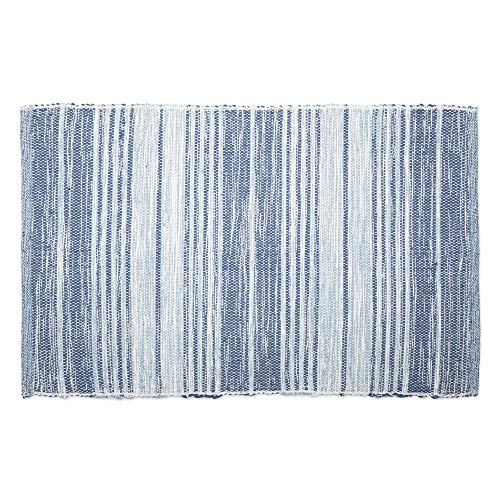 Recycled Rag Rugs - DII CAMZ11089 Contemporary Reversible Machine Washable Recycled Yarn Area Rug for Bedroom, Living Room, and Kitchen, 2 x 3', Variegated Stripe French Blue
