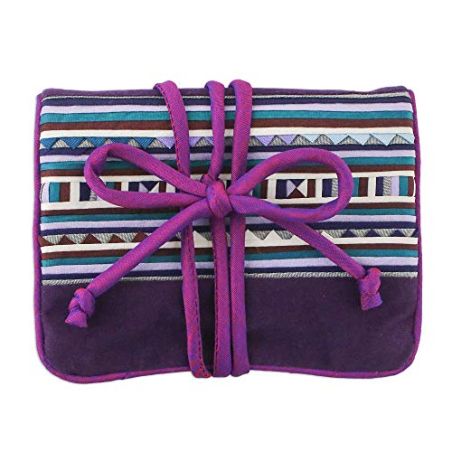 NOVICA Hill Tribe Cotton Jewelry Roll, Purple, Lisu