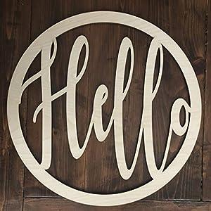 Unfinished Circle Hello Door Hanger - Everyday Modern Wreath - Neutral Door Hanger - Modern Welcome Sign - Year-round - Summer Winter 3