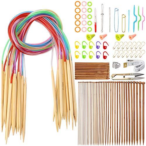 Outkitkit Knitting Needles Set, 72pcs Single Pointed Bamboo Knitting Needles + 18 Pcs Circular Knitting Needles + 12 Pcs Crochet Hooks Set + Weaving Tools Knitting Kits