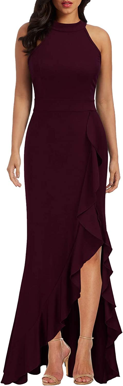 WOOSEA Women's High Neck Split Bodycon Mermaid Evening Cocktail Long Dress: Clothing