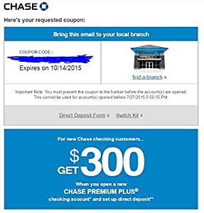 Chase new account coupon 300