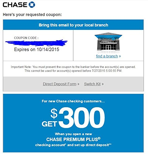 300 Chase Checking Account Promotion Coupon