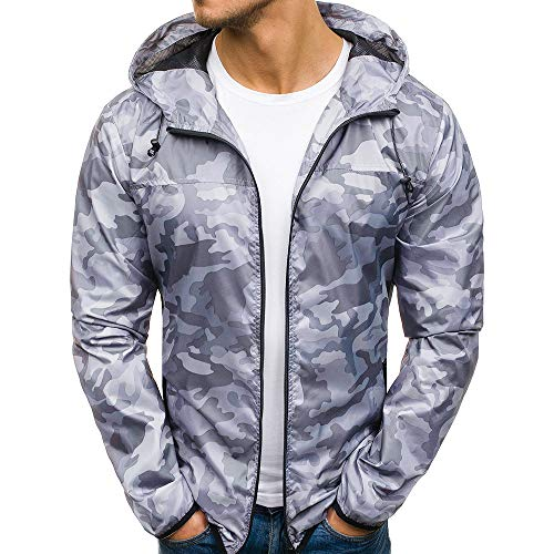 (Forthery Clearance Men's Hoodies Pullover Full Zip Camouflage Jacket Coat Outwear(US Size L = Tag XL, Gray))