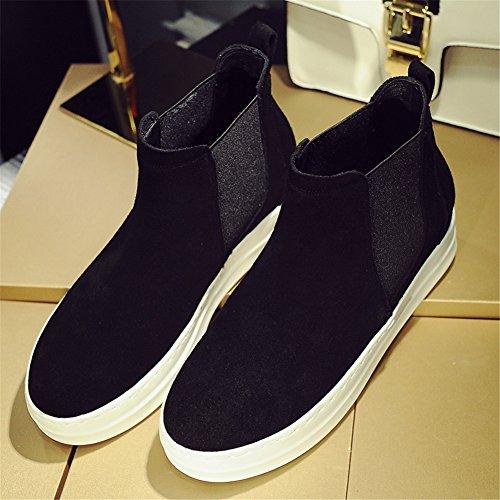 Noir Plateforme Femmess Roseg Boots Mode Cuir Chelsea Top High Bottes pnYCzH