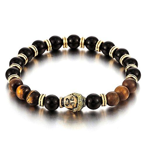 5f95684913f2 En venta Hombre Mujer 8mm Tiger Eye y Ónix Negro Pulsera de Perlas con Buda