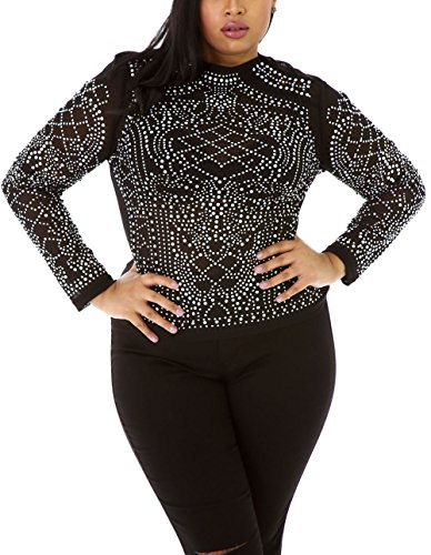 Lalagen Women's Plus Size Long Sleeves Rhinestone Bodycon Top Black 1X