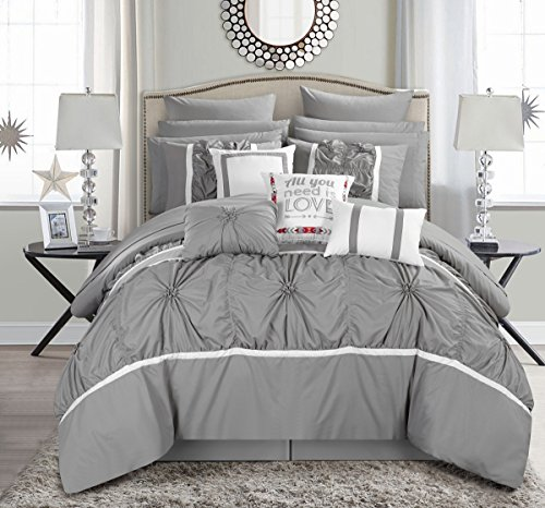 Chic Home Ashville 16 Piece Comforter Set, Queen, Silver