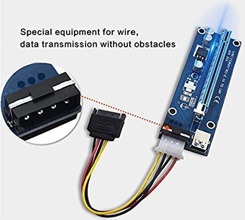 VICTONY 6-Pack 4 Pin PCI-E 16x to 1x Powered Riser Adapter Card w/60cm USB 3.0 Extension Cable & MOLEX to SATA Power Cable - GPU Riser Adapter - Ethereum Mining ETH+MintCell 6 Cable Ties by VICTONY (Image #2)