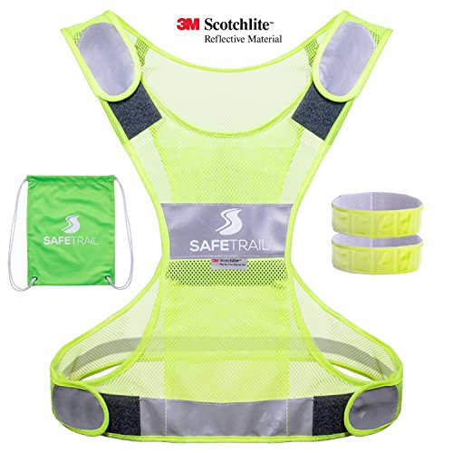 Running Stretch Vest - Reflective Vest for Running Cycling Dog Walking Motorcycle, High Visibility Bike Reflector Vest, 3M Scotchlite Reflective Running Gear Vest, Reflective Safety Vest with Pockets and 2 Reflective Bands