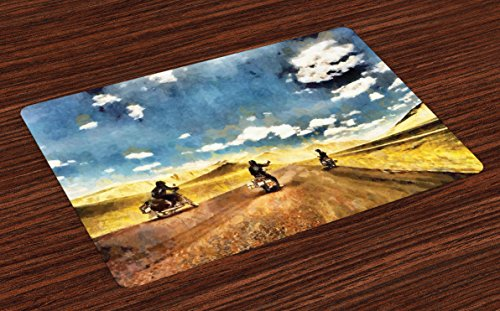 Ambesonne Country Place Mats Set of 4, Group Friends Band on Motorcycles in Countryside Rural Adventure Travel up Artwork, Washable Fabric Placemats for Dining Room Kitchen Table Decor, Multicolor