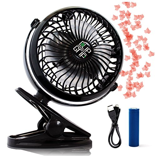 ClipGrip Powerful Rechargeable Battery Operated Clip On Fan With Lifetime Guaranty & White Noise Option, Portable And Great For The Car, Desk, Stroller & The Beach For The Best Cooling Effect. Black