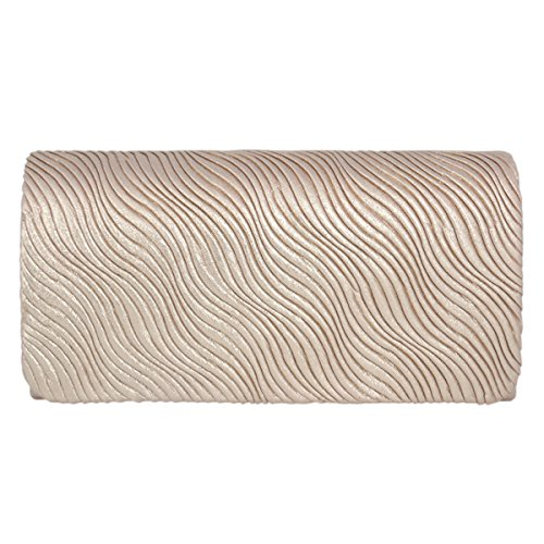 Purse Bag Satin Evening Elegant Champagne Clutch Bag Adoptfade Wedding Bridal Ladies Pleated SqwfTxRFU