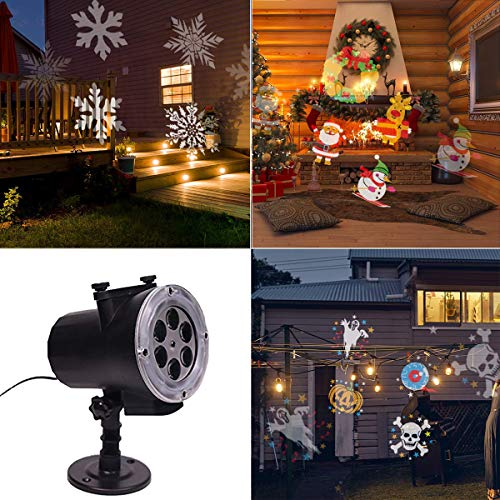 2018 New Christmas Projector Lights High Brightness 12 Colorfast Switchable Slides Waterproof Landscape Light with Remote for Halloween Christmas New Year Decoration