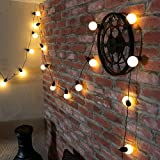 Festoon Party Lights - Indoor & Outdoor - 4.75m Lit Length - Dark Cable - Warm White LEDs by Festive