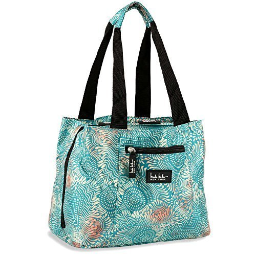 Miller Green - Nicole Miller Insulated Lunch Bag - 11 Womens Designer Lunch Tote Cooler (Copacabana Blue)