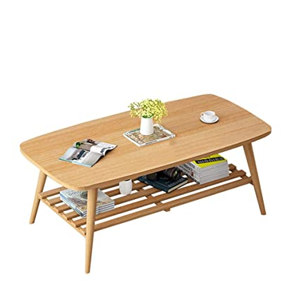 Amazon Com Xiaoyan Square Coffee Table 2 Tier Wood Shelves Small