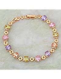 BMALL Fashion Bracelets For Women Colorful Zircon Stones 18K Yellow Gold Plated Bracelets Bangles 19.5Cm 7.67 Inch B197
