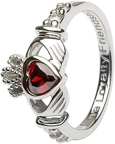 JANUARY Birth Month Sterling Silver Claddagh Ring LS-SL90-1. Made in Ireland.