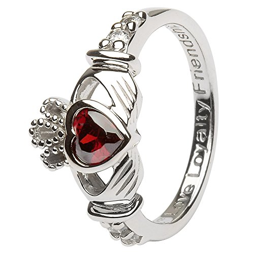 JANUARY Birth Month Silver Claddagh Ring LS-SL90-1 - Size: 5 Made in Ireland. Irish Made Claddagh Ring