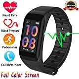 Fitness Tracker, Activity Tracker with HD Colorful Touch Screen,Health Tracker with HR/Blood Pressure/Blood Oxygen/Sleep Monitor,Fitness Watch IP67 Waterproof Smart Band with Calorie Counter Pedometer