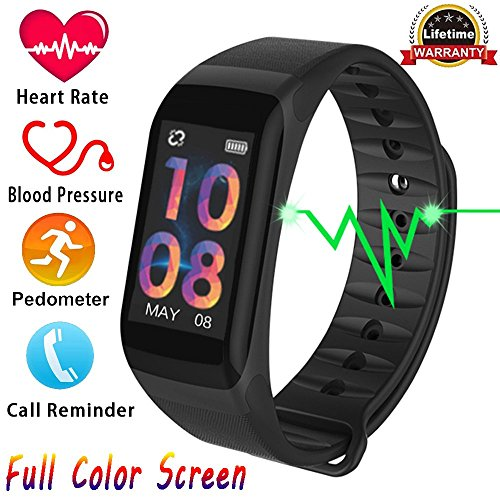 Fitness Tracker, Activity Tracker with HD Colorful Touch Screen,Health Tracker with HR/Blood Pressure/Blood Oxygen/Sleep Monitor,Fitness Watch IP67 Waterproof Smart Band with Calorie Counter Pedometer by TIISON