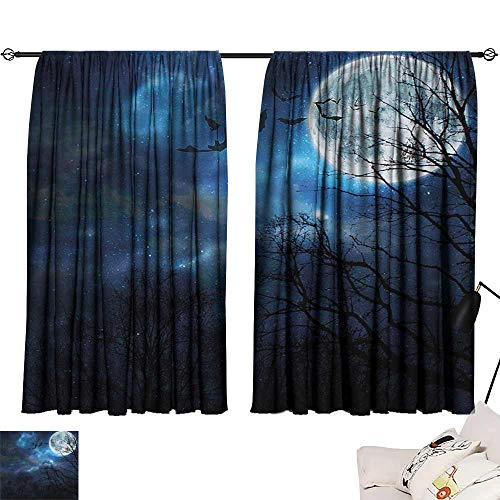 Blackout Window Curtain Halloween,Bats Flying in Majestic Night Sky Moon Nebula Mystery Leafless Trees Forest,Blue Black White 54