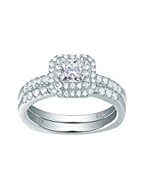 Newshe Woman Halo Princess White AAA Cz 925 Sterling Silver Engagement Wedding Ring Set Size 5-10