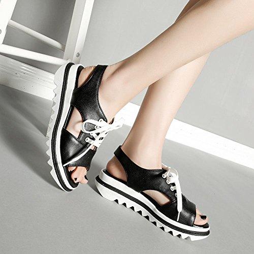Mee Shoes Damen open toe Slingback Plateau Sandalen Schwarz