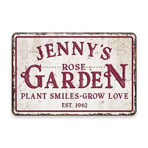 Personalized Vintage Distressed Look Rose Garden Metal Room Sign