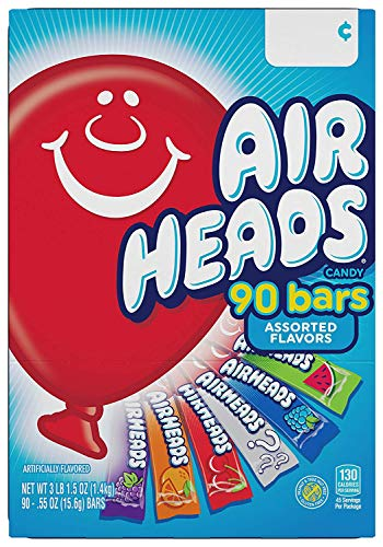Airheads Bars, Chewy Fruit Candy, Easter Basket Stuffers, Variety Pack, Party, Non Melting, 90Count (Packaging May Vary), 5 Pack by Airheads (Image #1)