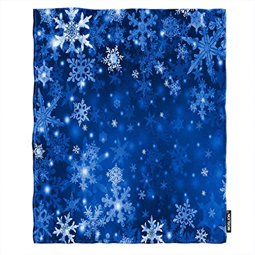 Moslion Soft Cozy Throw Blanket Blue Snow Flakes Beautiful Snowflakes Fuzzy Warm Couch/Bed Blanket for Adult/Youth Polyester 30 X 40 Inches(Home/Travel/Camping Applicable)