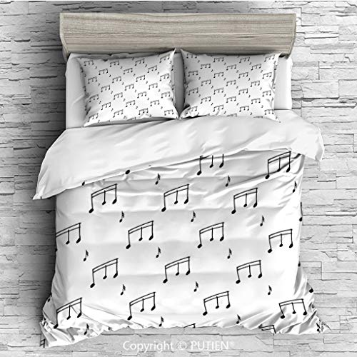 FULL Size Cute 3 Piece Duvet Cover Sets Bedding Set Collection [ Music,Musical Notes Themed Melody Sonata Singing Songs Clef Tunes Hand Drawn Style Pattern Print,Black ] Comforter Cover Set ()