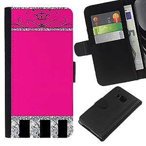 Glitter Pink Silver Crown Espumoso- la tarjeta de Crédito Slots PU Funda de cuero Monedero caso cubierta de piel Para HTC One M7
