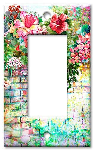 Art Plates Brand Single Gang Rocker (Decora) Switch/Wall Plate - Floral Wall