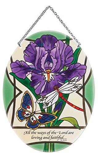 (Suncatcher-LO226R-Purple Iris & Butterfly All Stained Glass Suncatcher (LO226R))