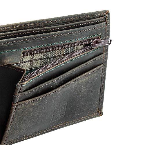 Porte Fentes Et Homme Vintage L'aspect Cuir Véritable À Foncé Zip Pour Portefeuille Dudu Vieilli monnaie En Avec Brun v1RxOw5q7A