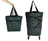 Cocobuy Collapsible Folding Shopping Bag with Wheels Shopping Trolley, Trolley Bags Foldable Shopping Cart Wheeled Shopping Bag Travel Bag 7 Colors (Black)